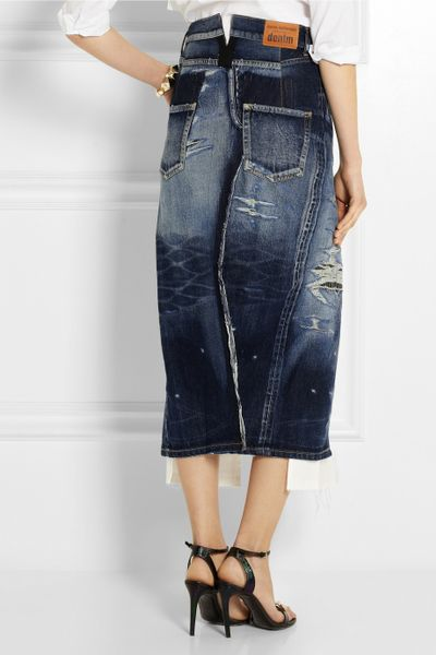 junya watanabe splitfront distressed denim skirt in blue