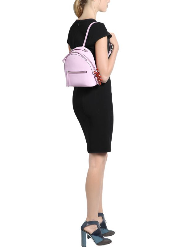 a8f1dd7613 Lyst - Fendi Leather Backpack W  Crystal Tail Detail in Pink
