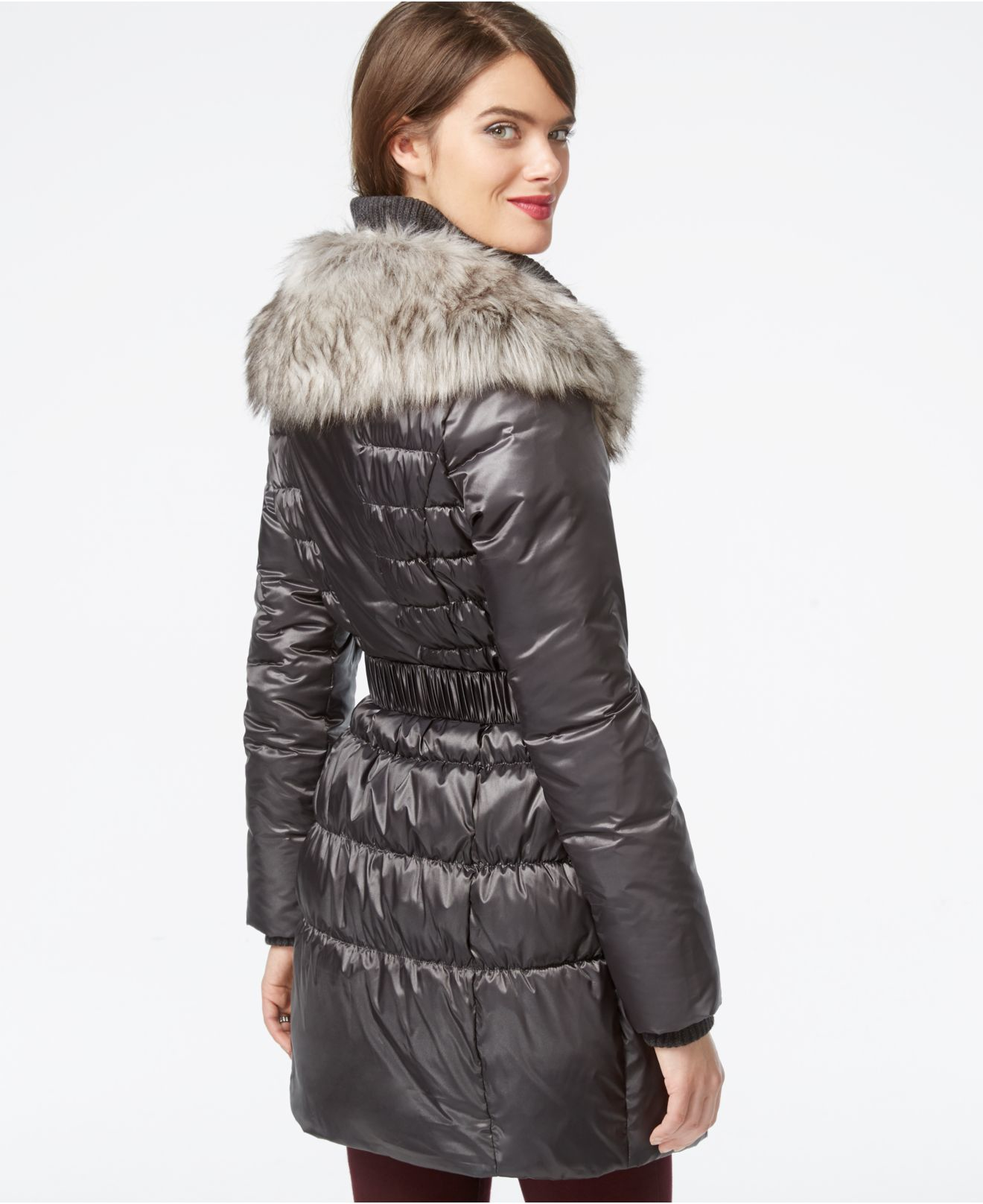 Betsey Johnson Faux Fur Collar Belted Puffer Coat In