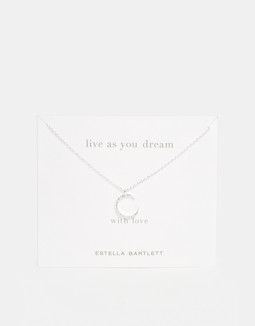 Estella bartlett Silver Plated Fly Me To The Moon Necklace On Gift ...