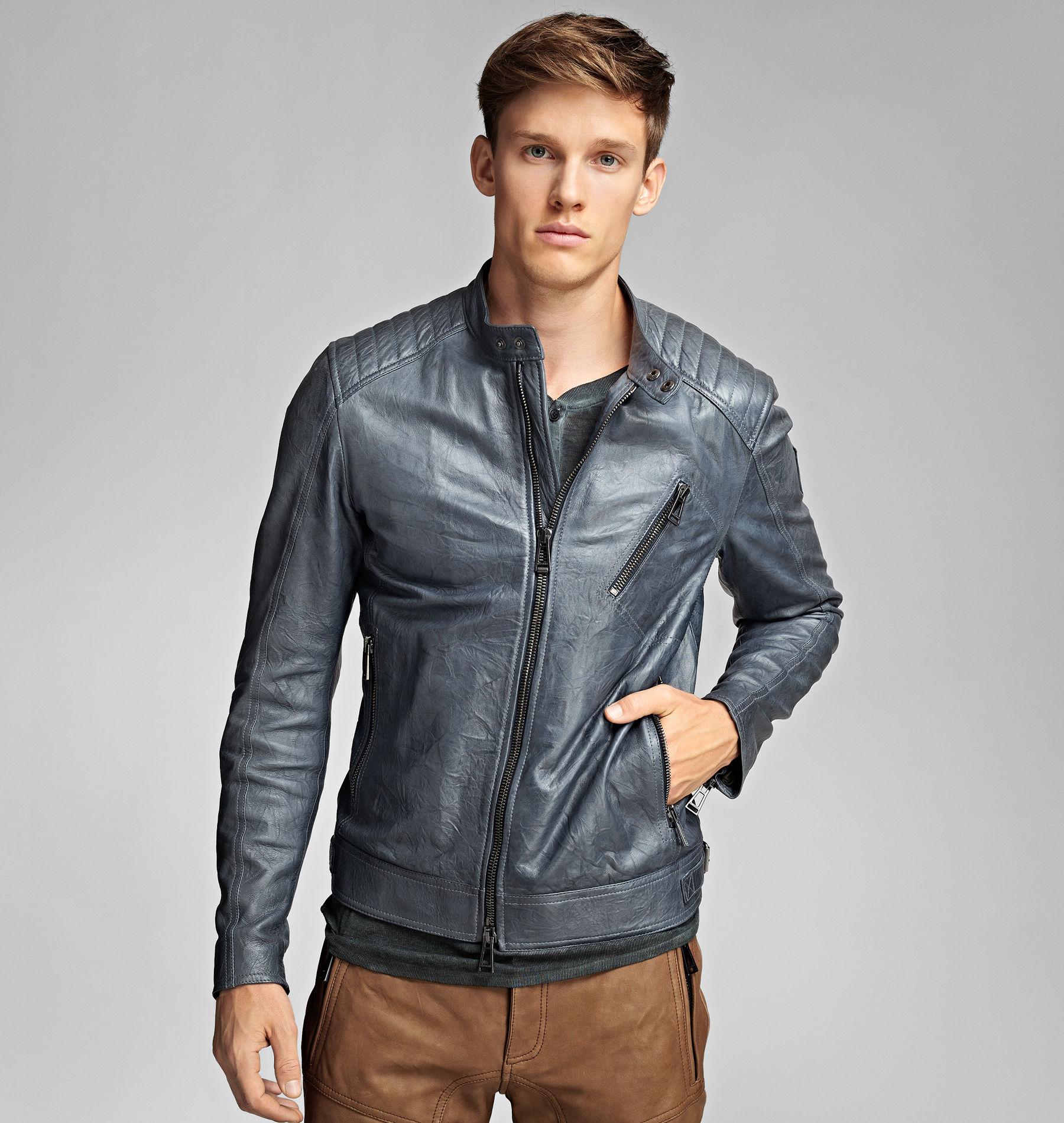 Belstaff Leather Jacket Blue