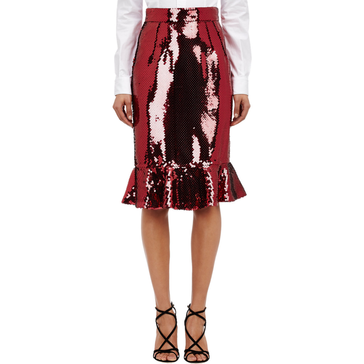 Dolce & gabbana Sequin Trumpet Skirt in Red | Lyst