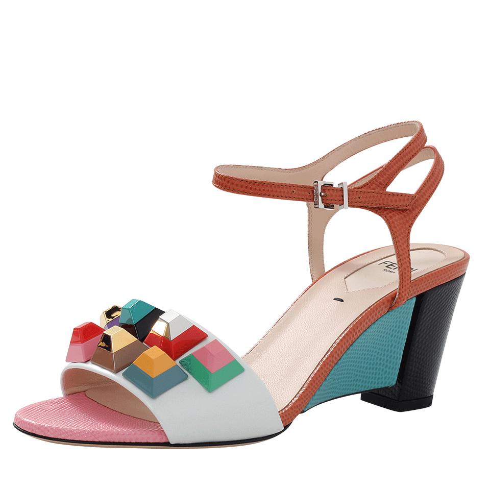 89028c67e483 Lyst - Fendi Rainbow Studded Sandals in Orange