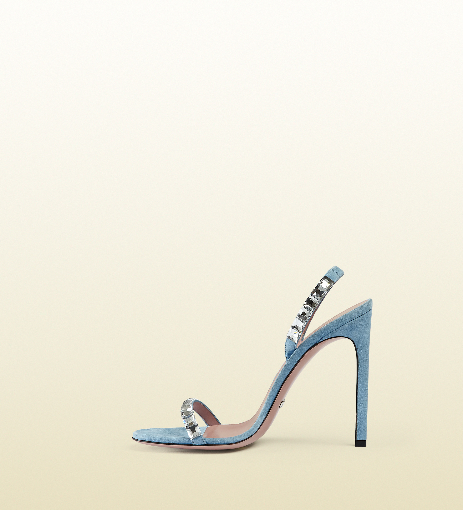 59abf5527a9 Lyst - Gucci Mallory Crystal Embellished Suede Sandals in Blue