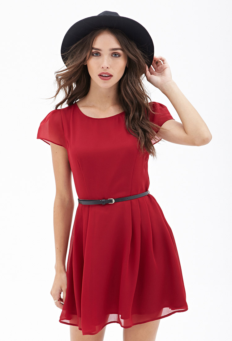 913ca5e5b387 Forever 21 Belted Cap Sleeve Dress in Purple - Lyst