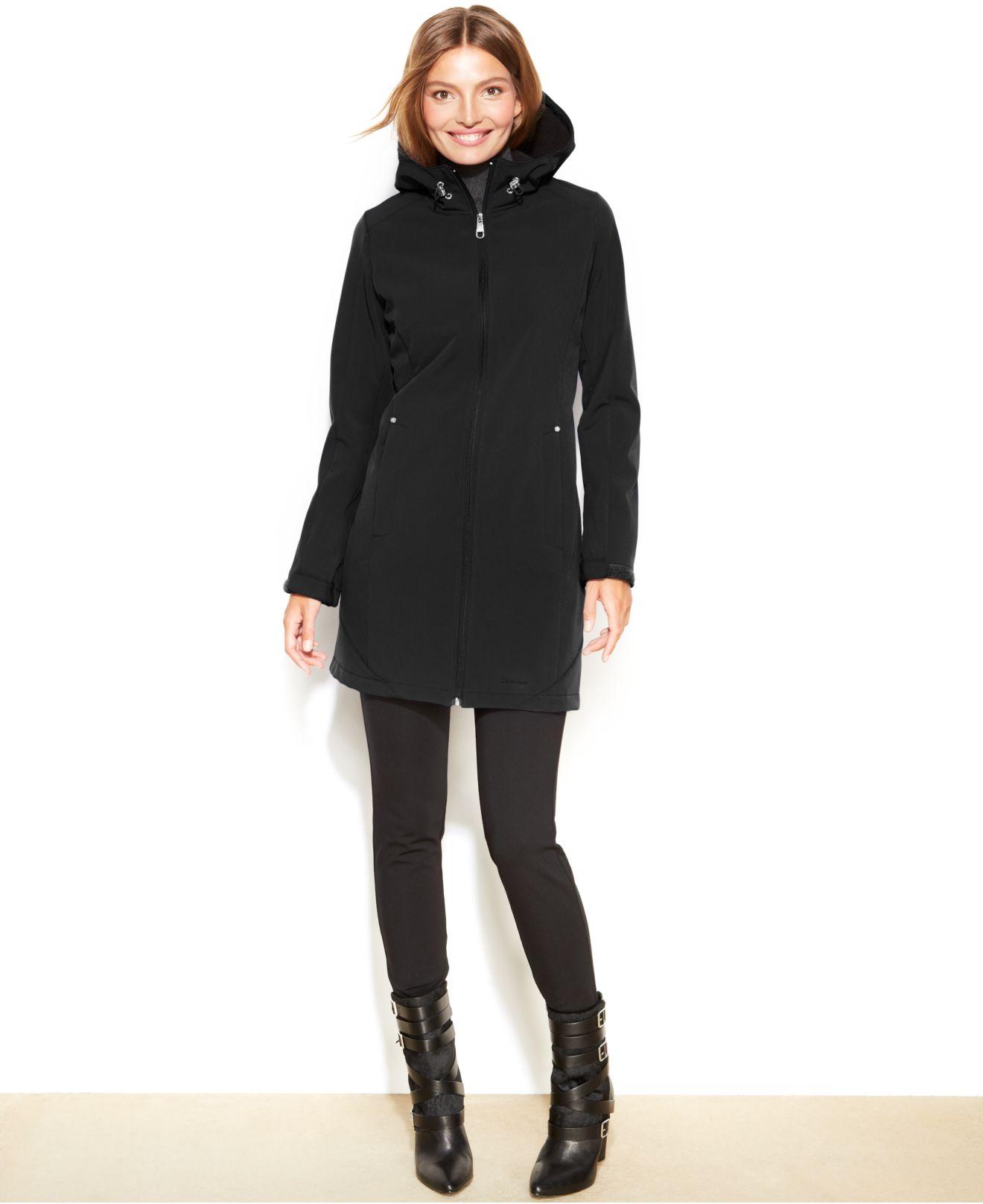 Calvin klein Petite Hooded Soft Shell Raincoat in Black   Lyst