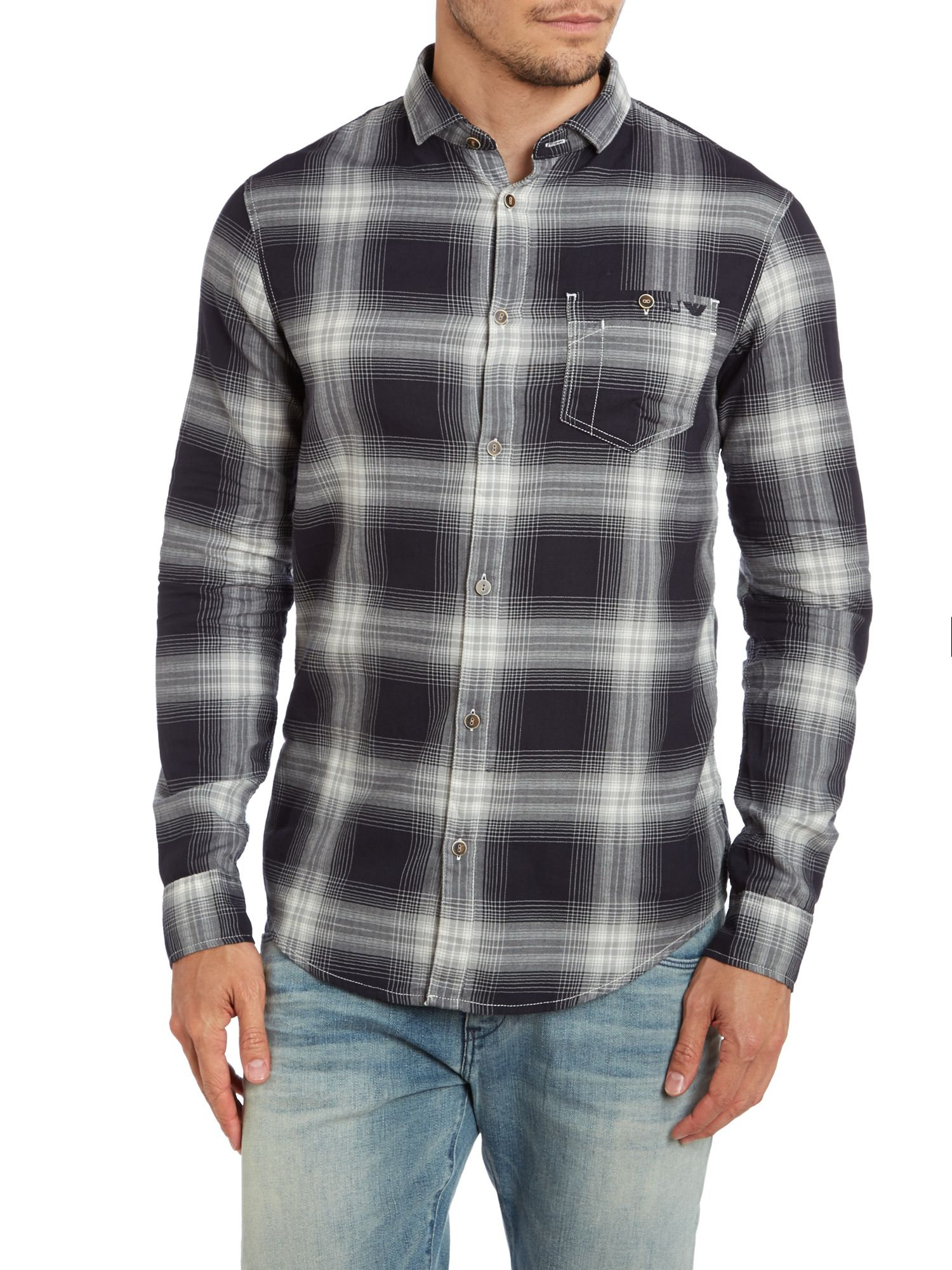 Armani Jeans Gray Checked Flannel Shirt For Men Lyst