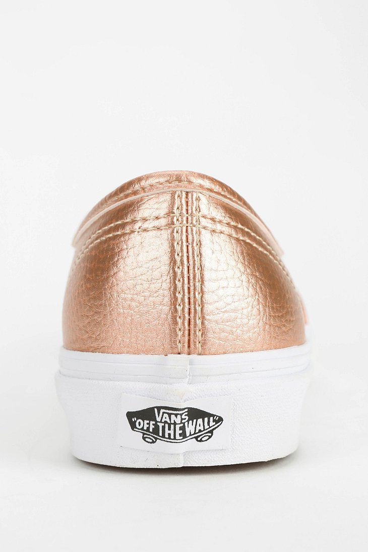 b4b49810878 Lyst - Vans Authentic Metallic Leather Women S Low-Top Sneaker in Pink