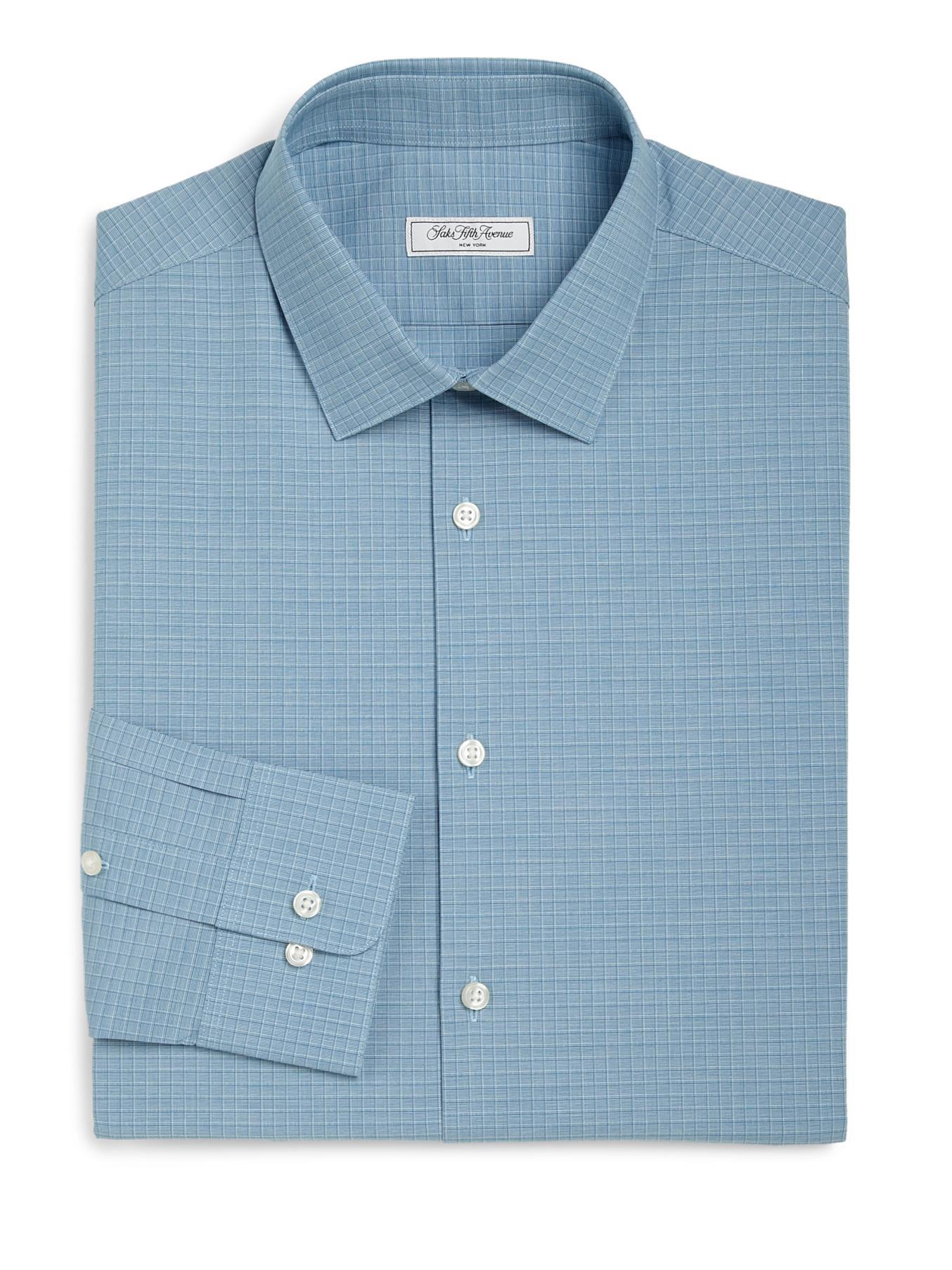 Lyst saks fifth avenue modern fit check dress shirt in for Modern fit dress shirt