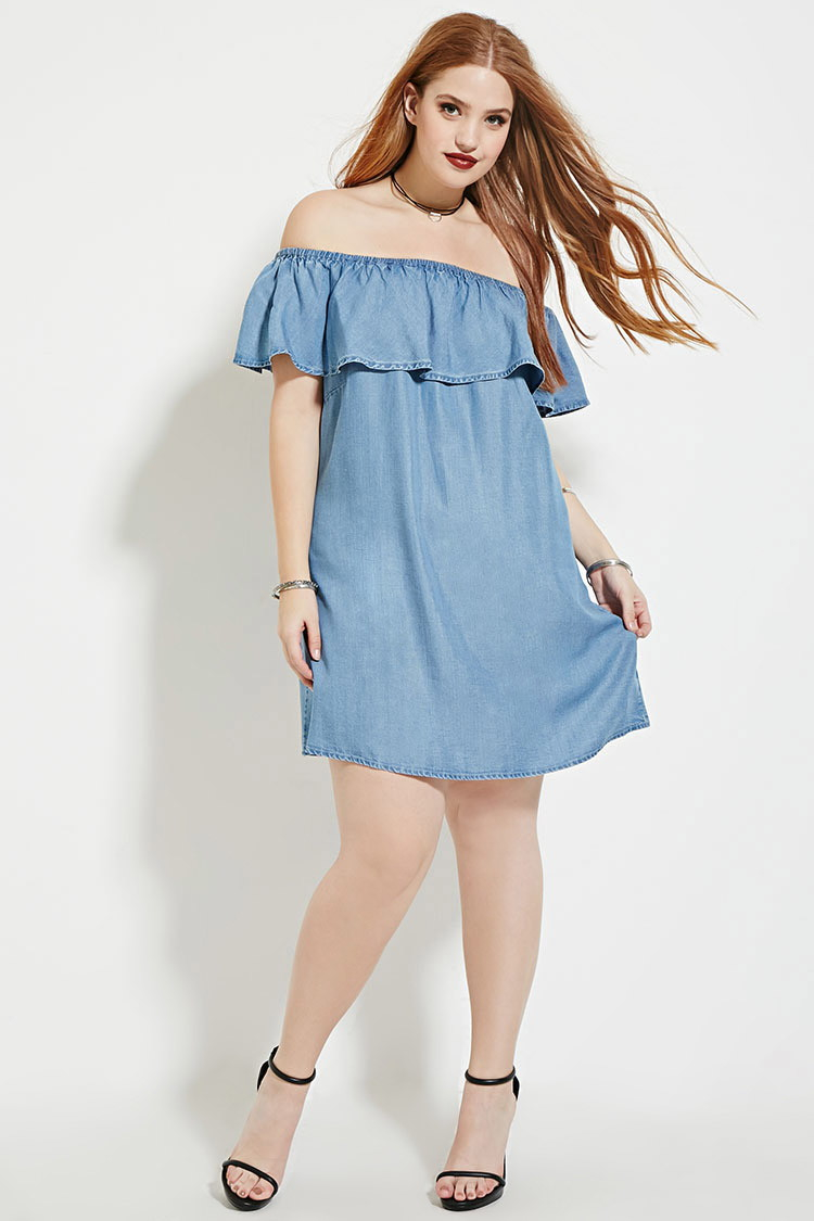 55824db69ec Lyst - Forever 21 Plus Size Chambray Dress in Blue