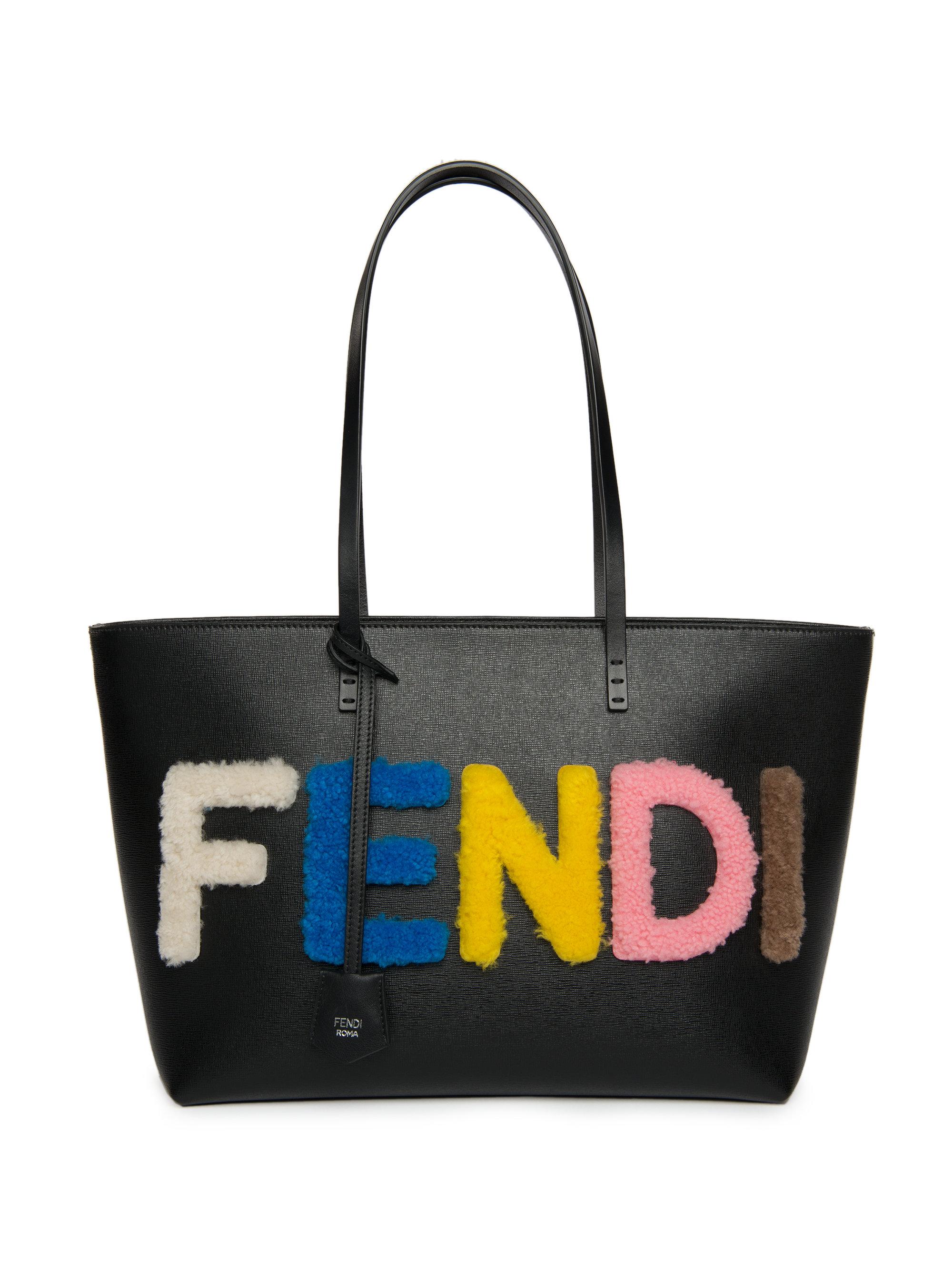Lyst - Fendi Logo Small Multicolor Shearling   Saffiano Leather Roll Bag e967c8fdc50
