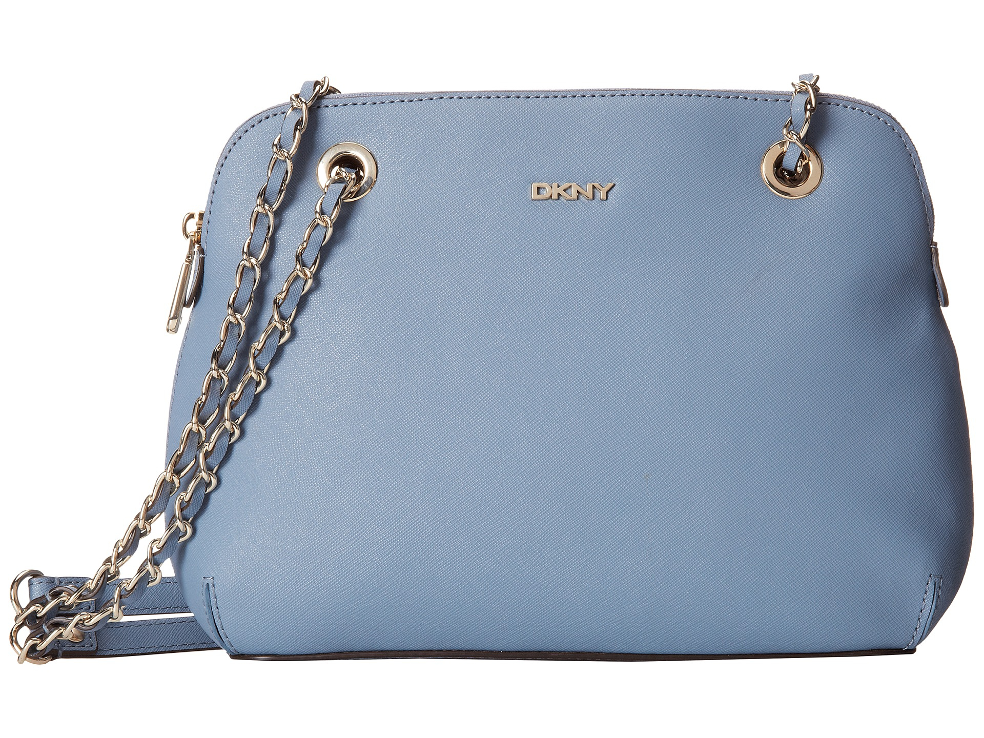 dkny bryant park saffiano leather round crossbody in blue light blue lyst. Black Bedroom Furniture Sets. Home Design Ideas