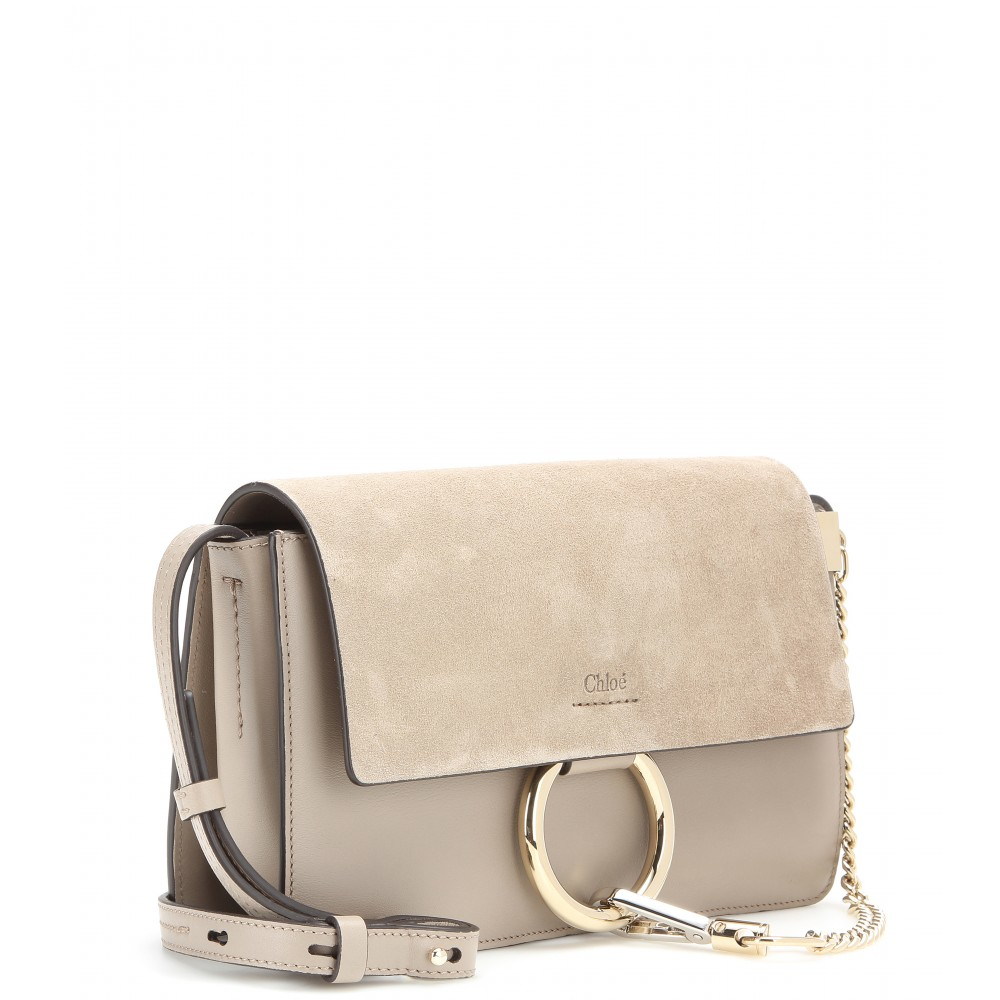 chloe pocketbooks - Chlo�� Faye Small Leather and Suede Shoulder Bag in Gray | Lyst