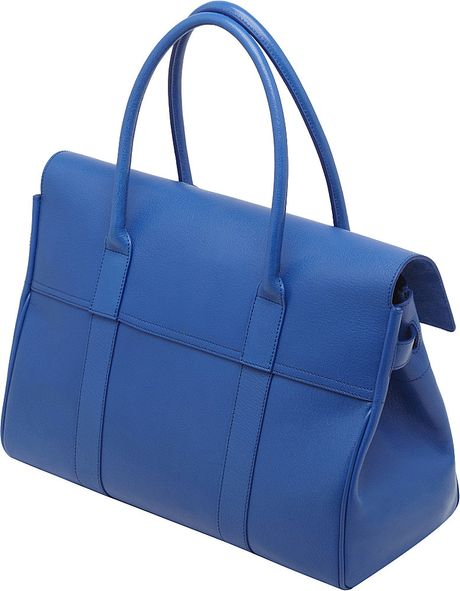 Mulberry Bayswater Shiny Goat Leather Handbag in Blue (Bluebell blue)