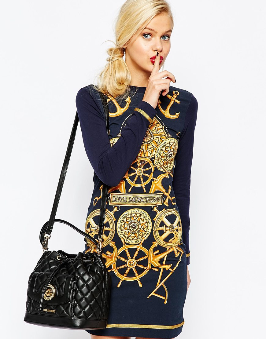 Love Moschino Quilted Bucket Bag In Black In Black Lyst