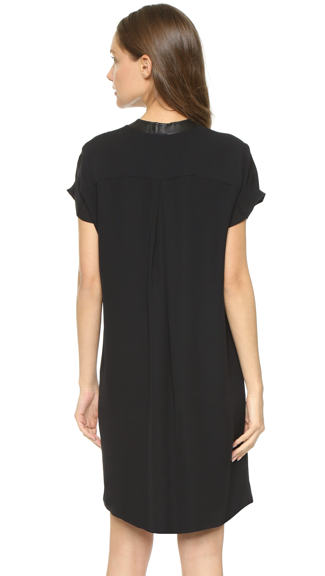 Vince leather trim popover dress black in black lyst