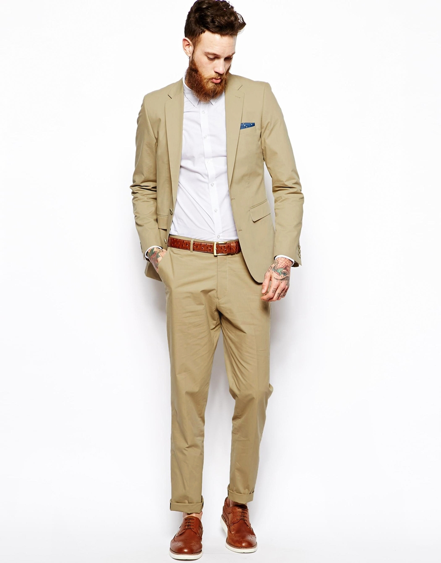 Asos Slim Fit Suit Jacket In Poplin in Natural for Men | Lyst