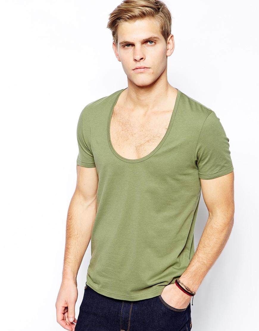 808da7b903b2 ASOS T-Shirt With Bound Scoop Neck in Green for Men - Lyst