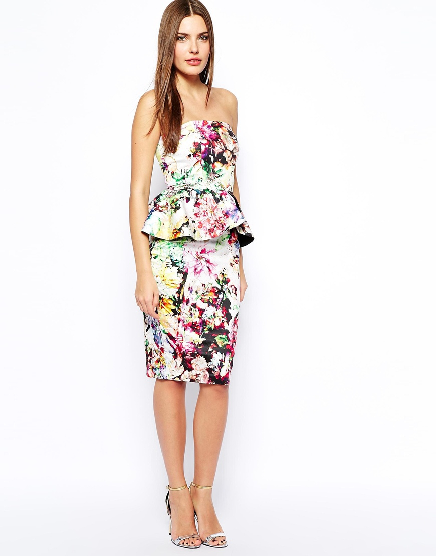 Lyst asos wedding multiway mesh midi bandeau in floral print gallery ombrellifo Choice Image