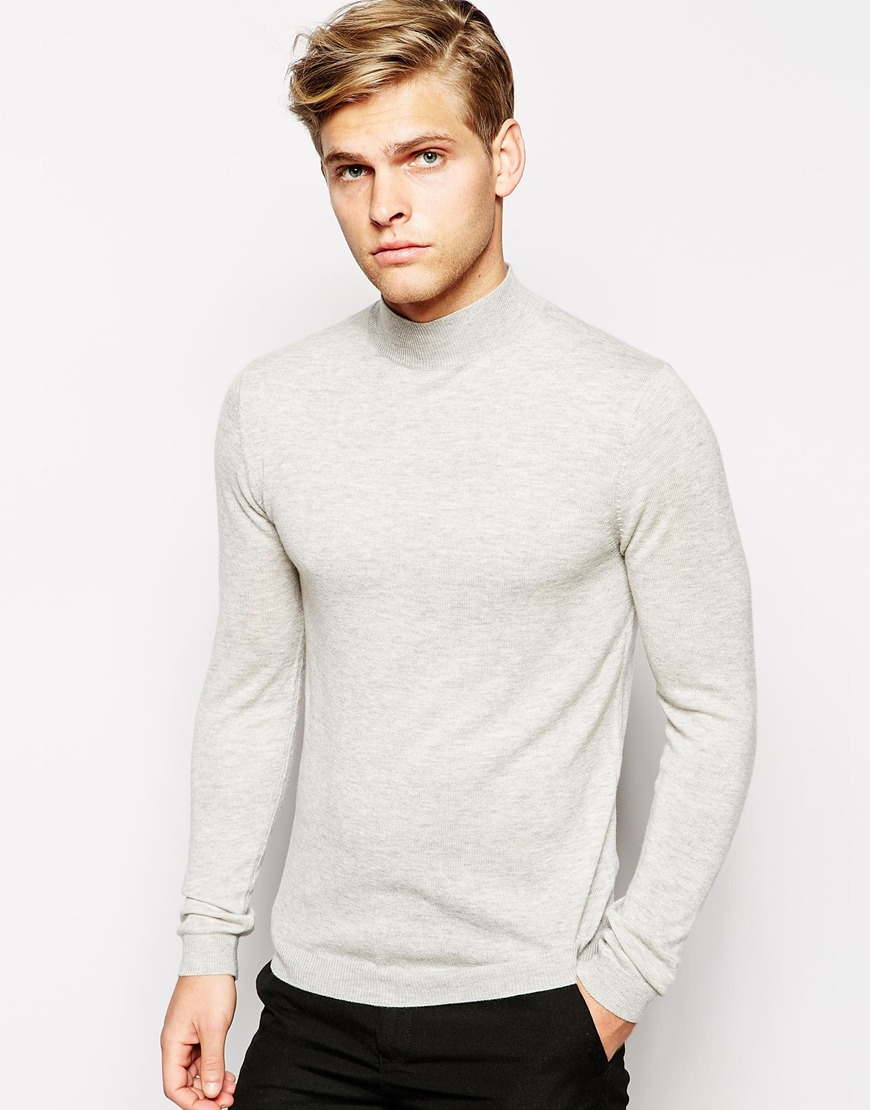 Asos Merino Turtleneck Sweater in Gray for Men | Lyst