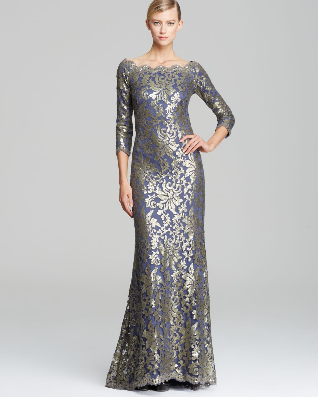 Lyst - Tadashi Shoji Off-Shoulder Metallic Lace Gown in ... - photo#21