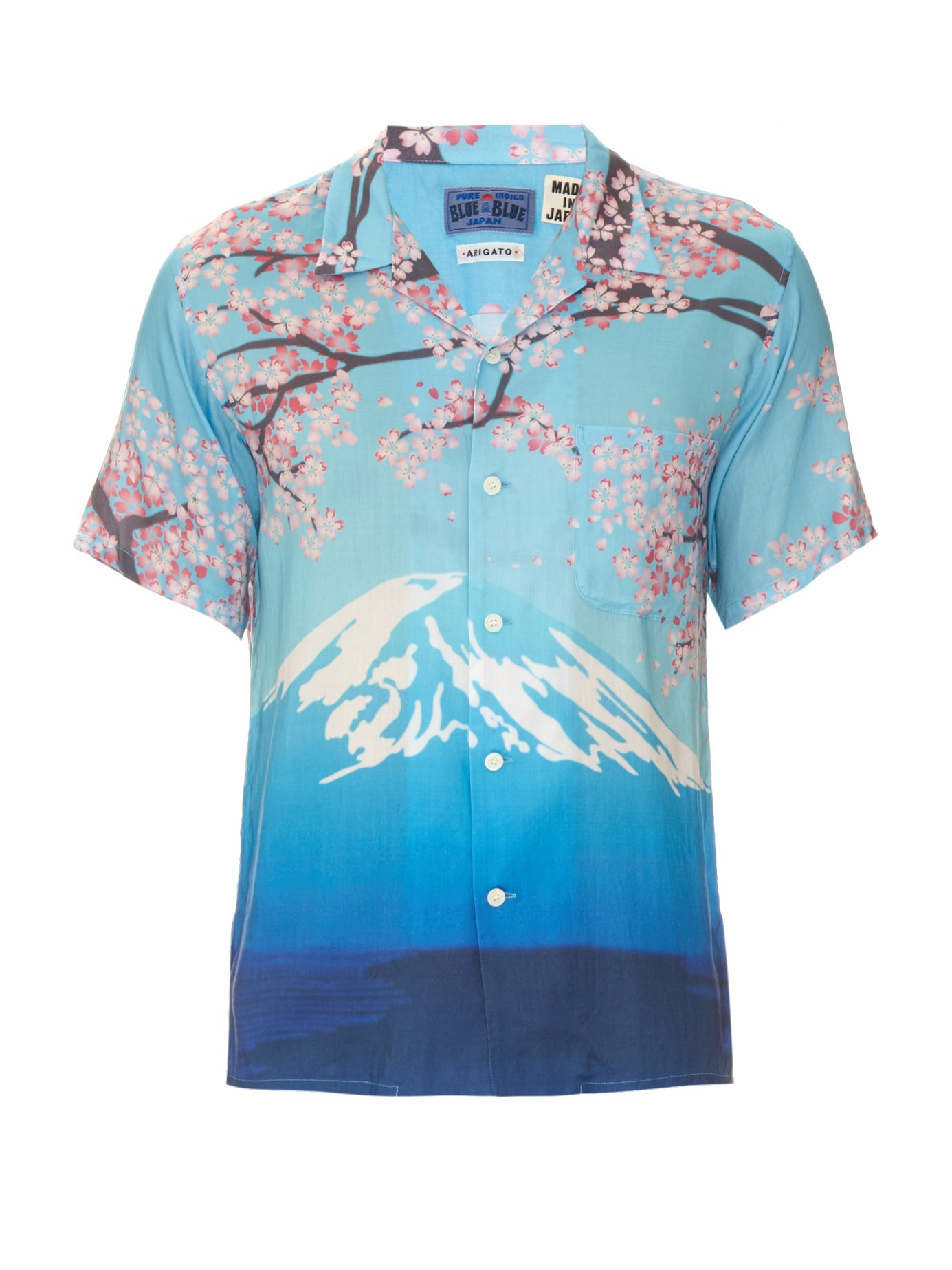 Blue Blue Japan Mountain Print Hawaiian Shirt For Men Lyst
