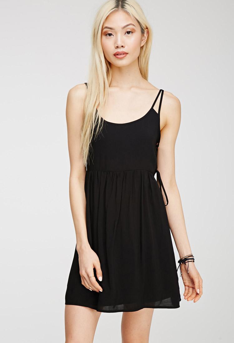 forever 21 cami babydoll dress in black lyst