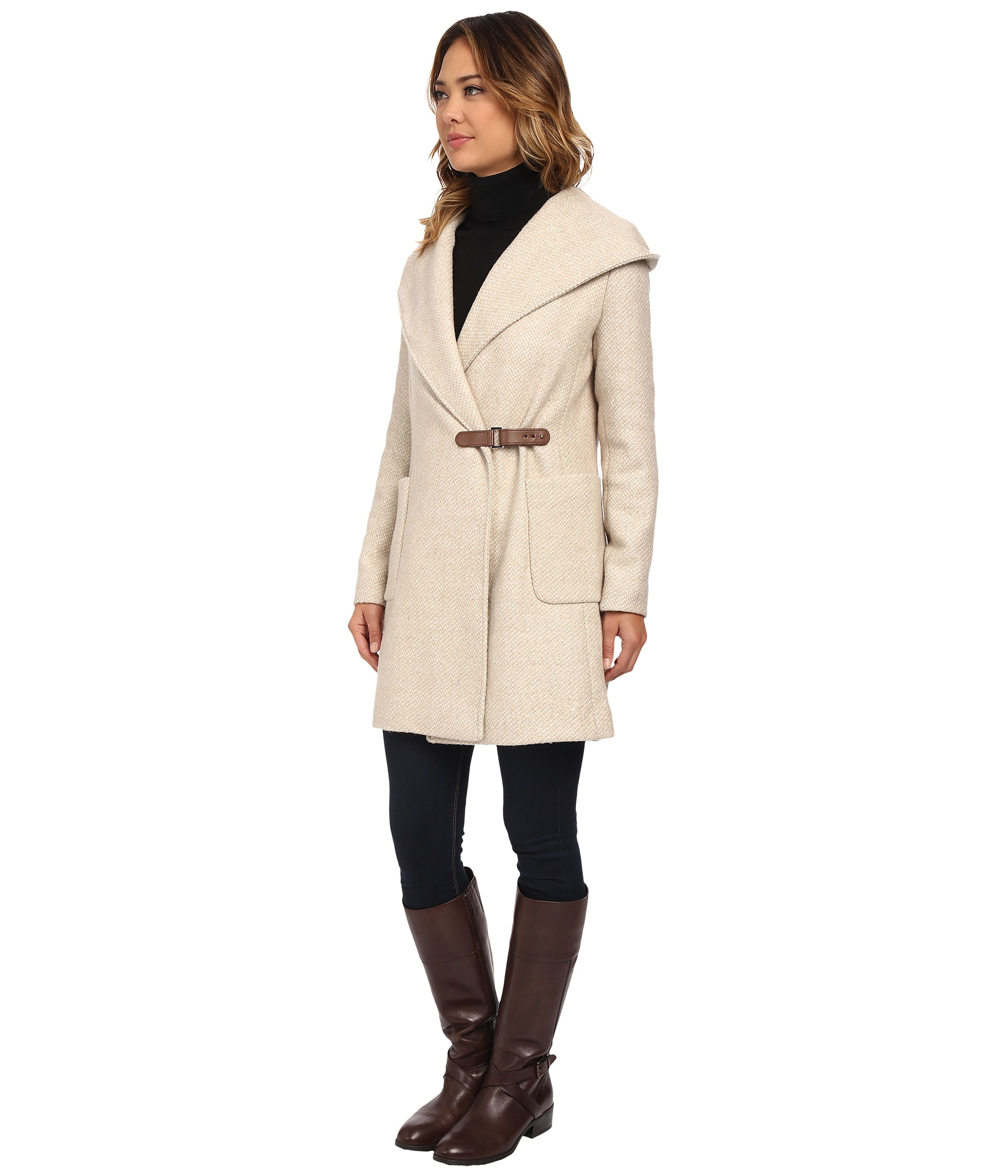 Lauren by ralph lauren Buckle Front Wrap Coat in Natural | Lyst