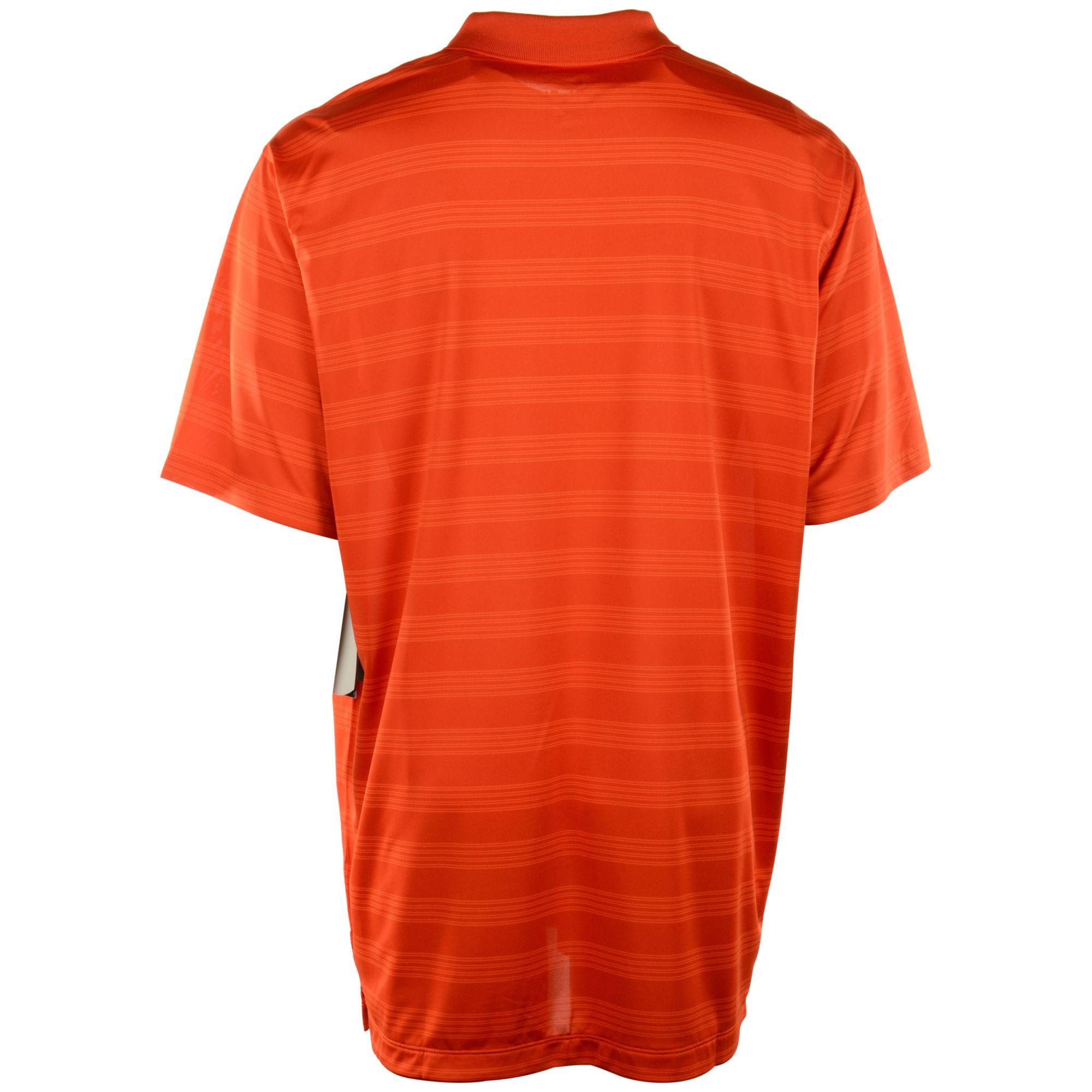 Nike men 39 s miami hurricanes dri fit preseason polo shirt for Orange polo shirt mens