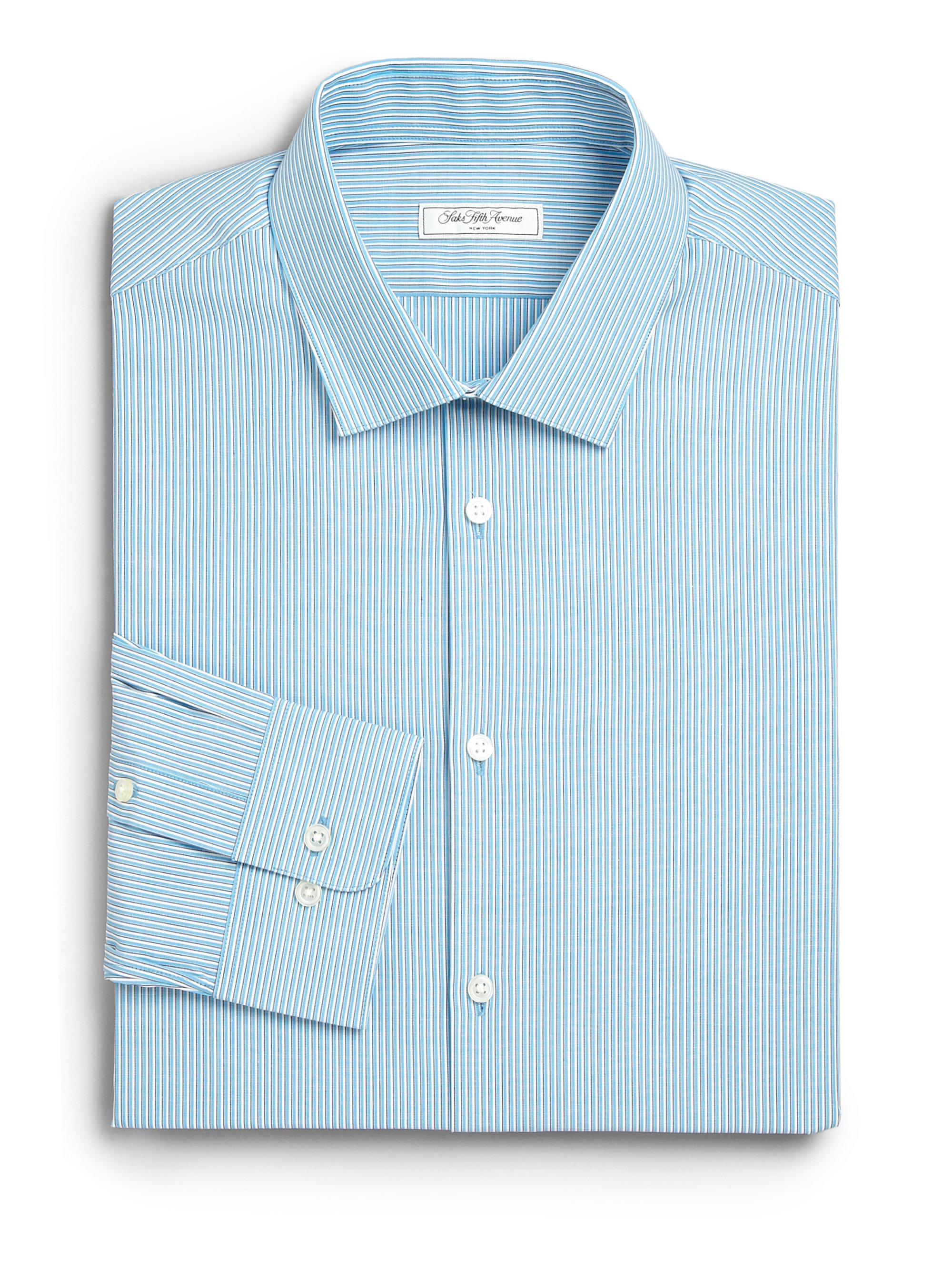 Saks fifth avenue modern fit striped dress shirt in blue for Modern fit dress shirt