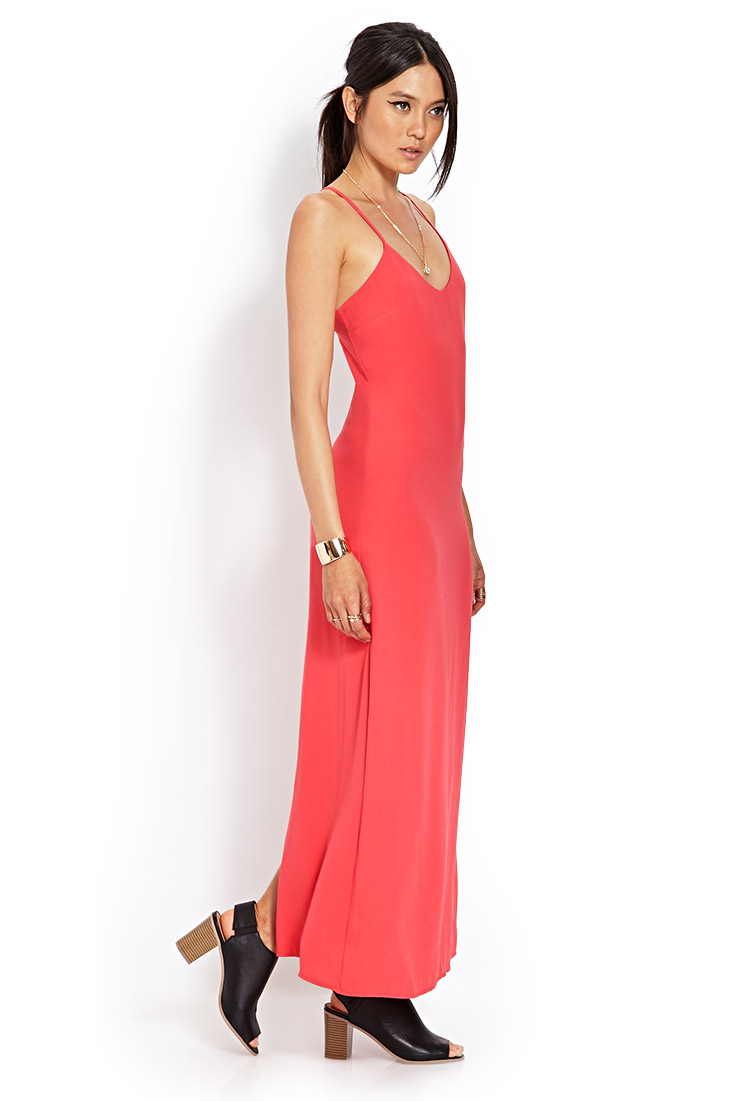 85db1fb270a Forever 21 Woven Crossback Maxi Dress in Red - Lyst