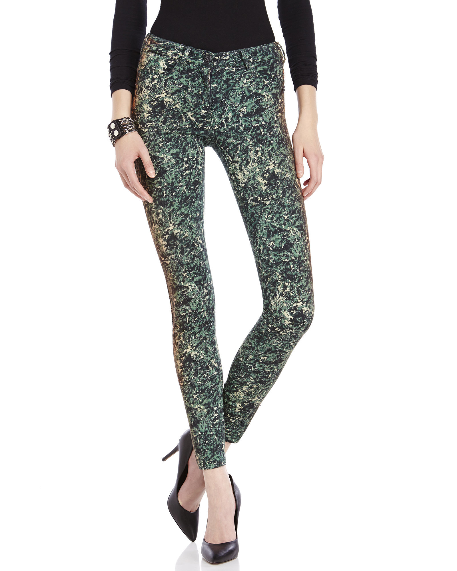 Maison scotch Green Printed Skinny Jeans in Green | Lyst