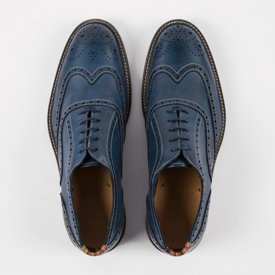Paul Smith Men S Navy Leather Knight Brogues In Blue For