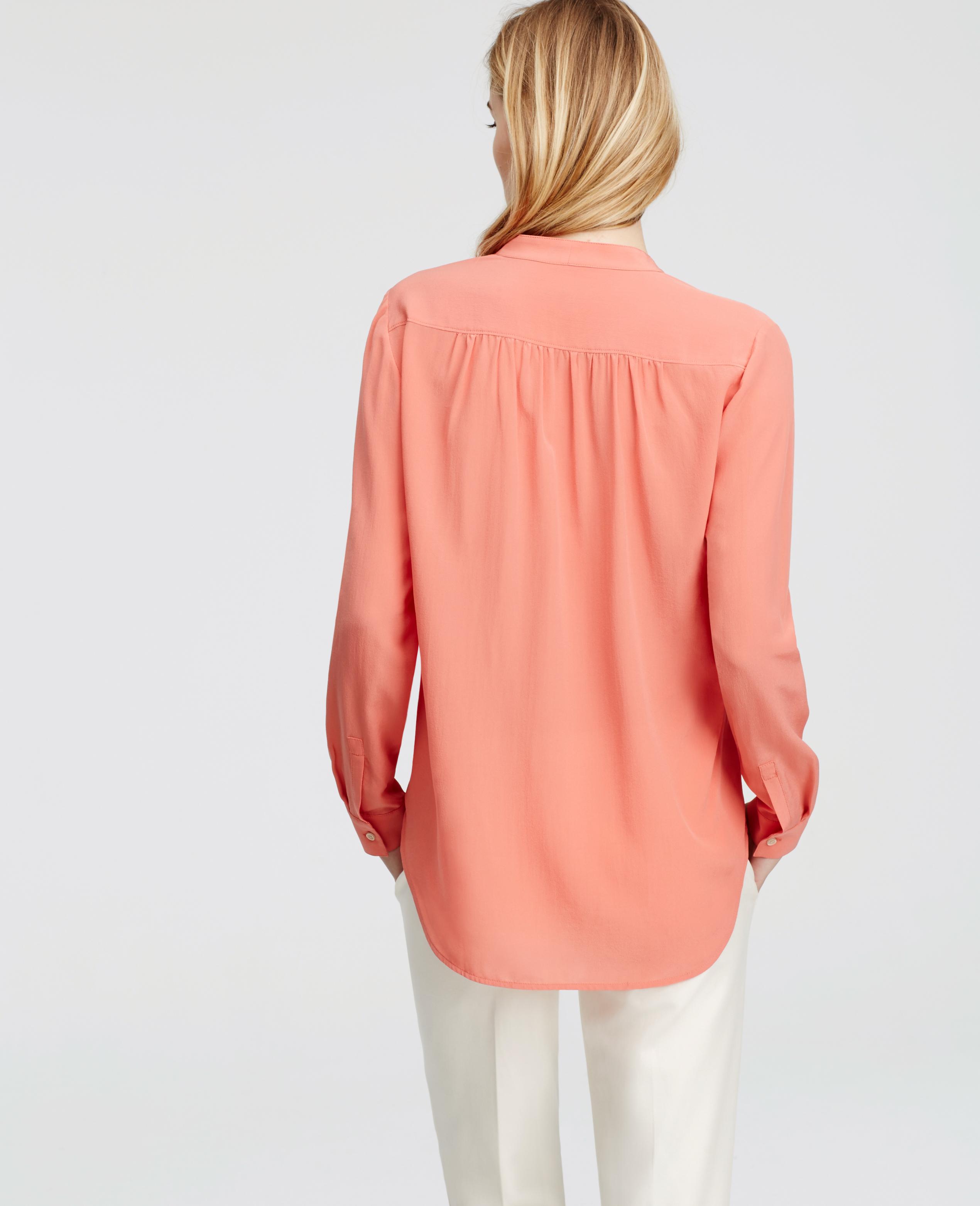 Lyst Ann Taylor Tall V Neck Silk Blouse In Orange
