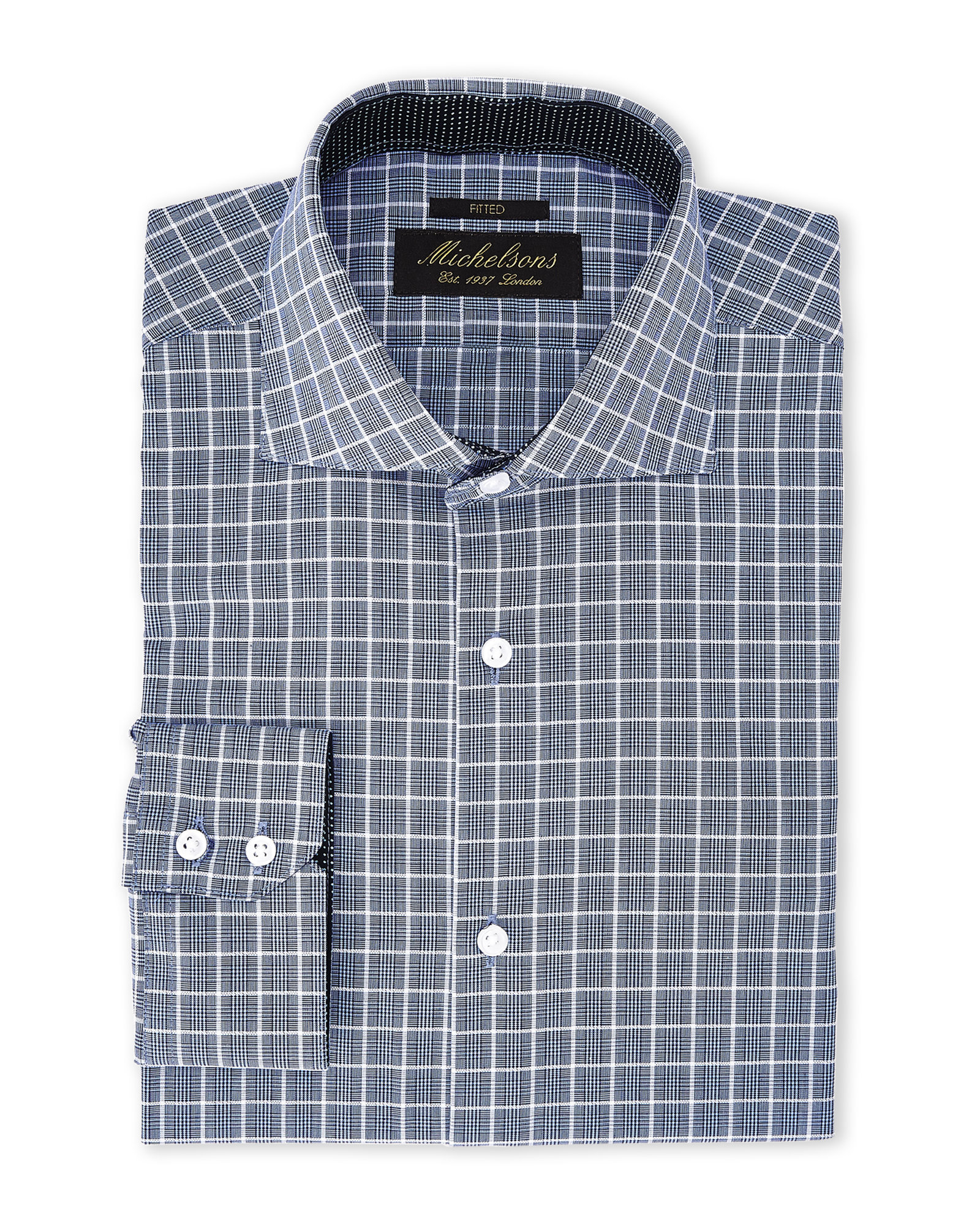 Michelsons of london blue navy plaid fitted dress shirt for Navy blue checkered dress shirt