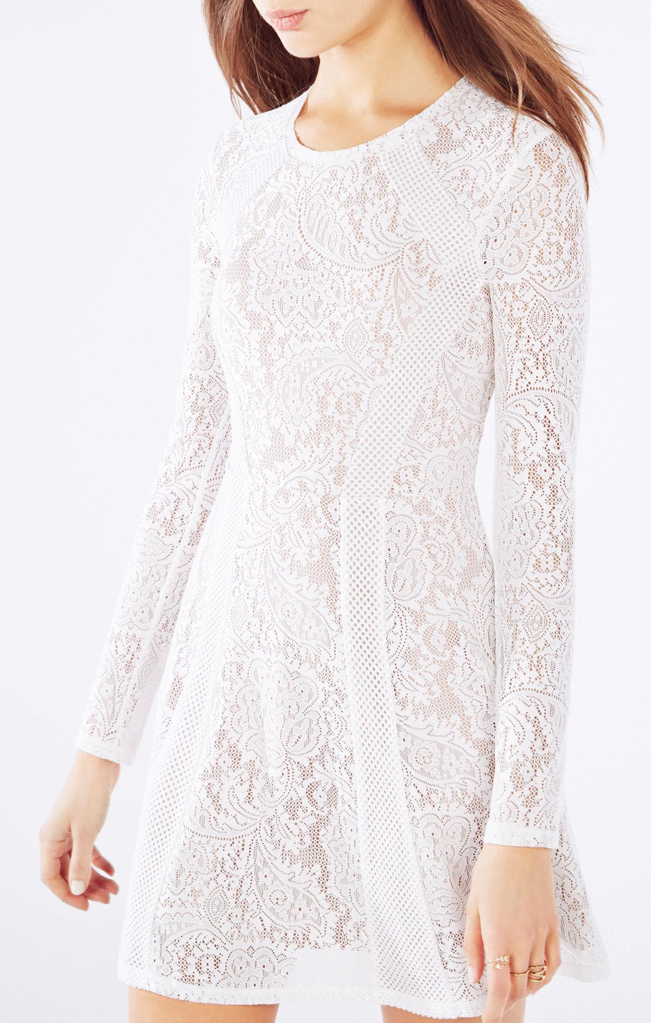Bcbg lace white long sleeve dress
