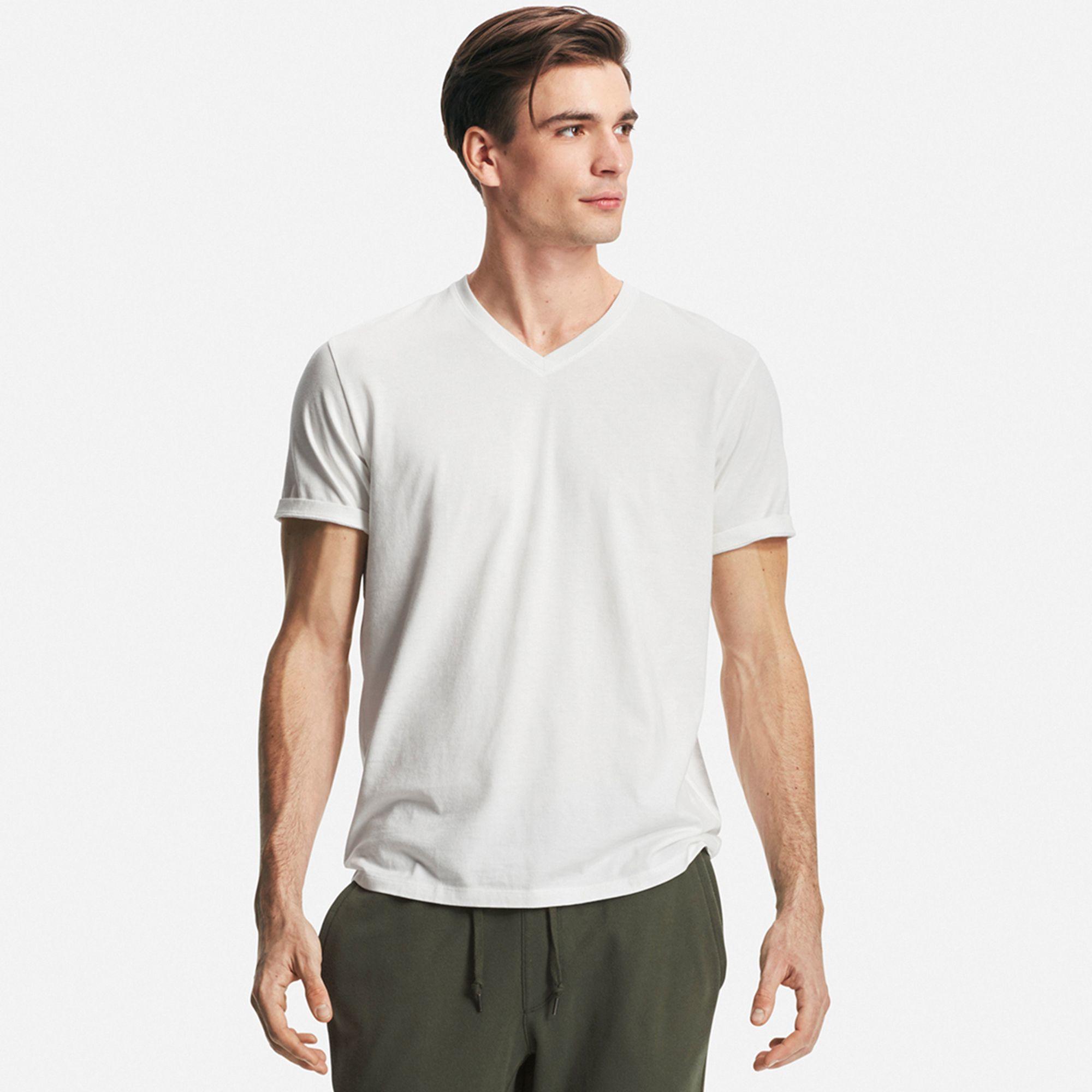 Uniqlo men 39 s supima r cotton v neck t shirt in white for for Supima cotton dress shirts
