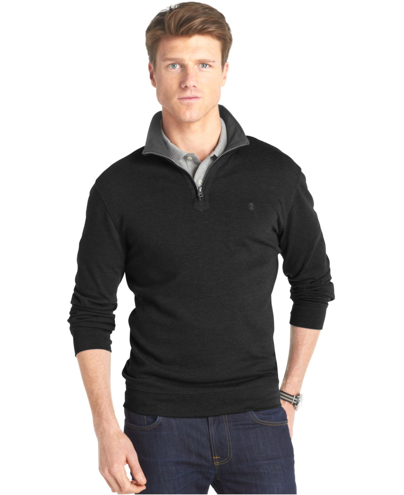 Izod big and tall solid quarter zip pullover in black for for Izod big and tall essential solid shirt