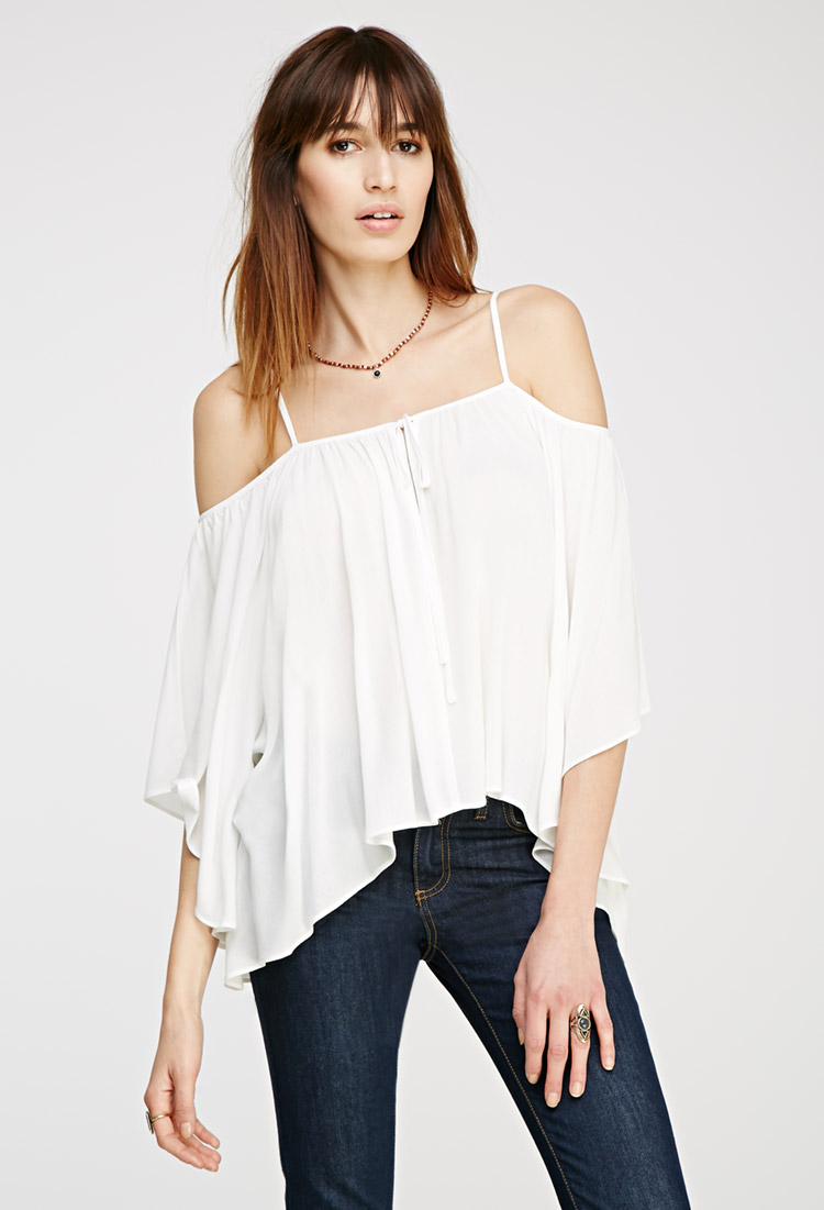 de93c93ea95e8c Lyst - Forever 21 Open-shoulder Bell Sleeve Top in White
