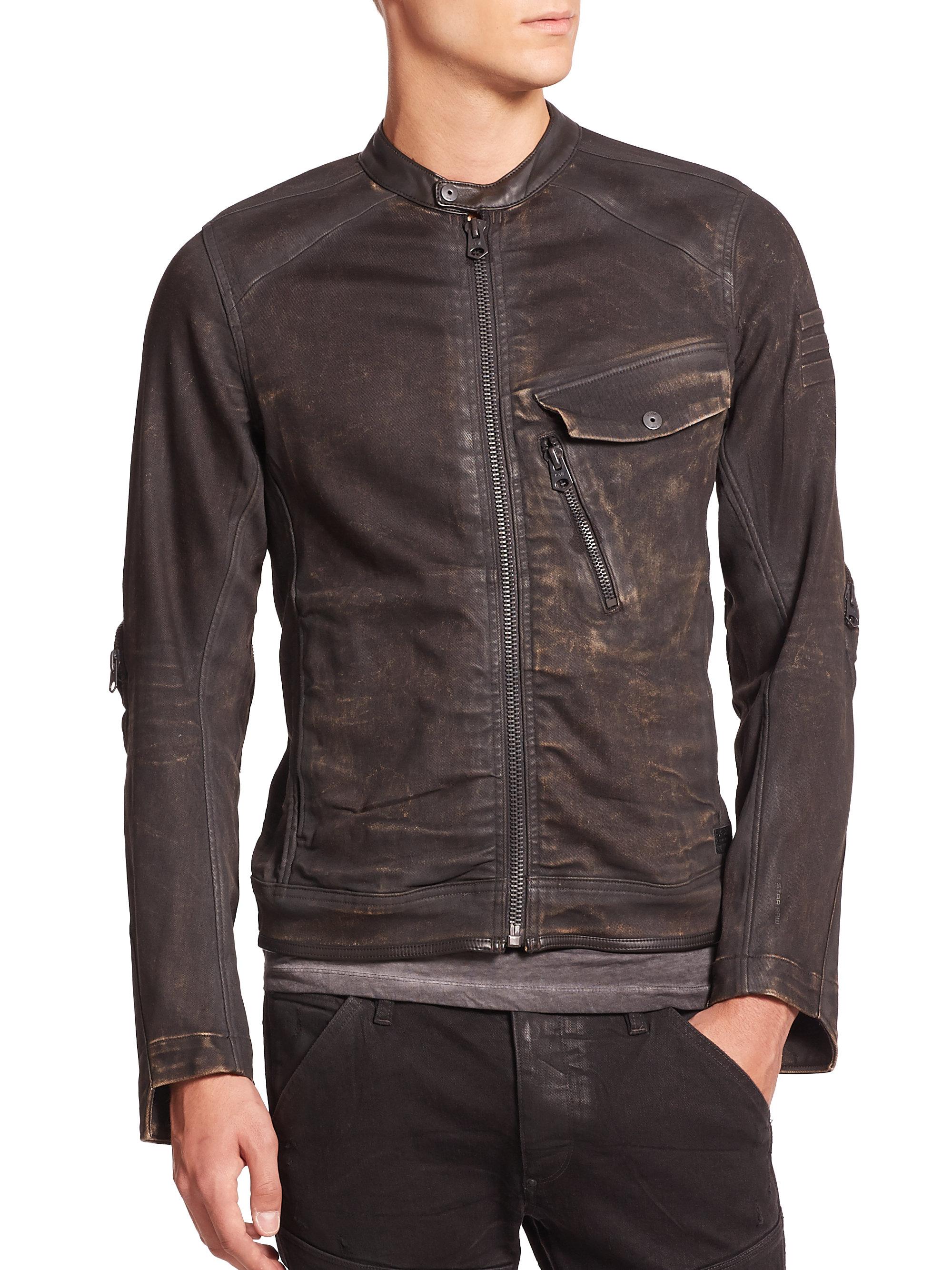 lyst g star raw revend coated moto jacket in black for men. Black Bedroom Furniture Sets. Home Design Ideas