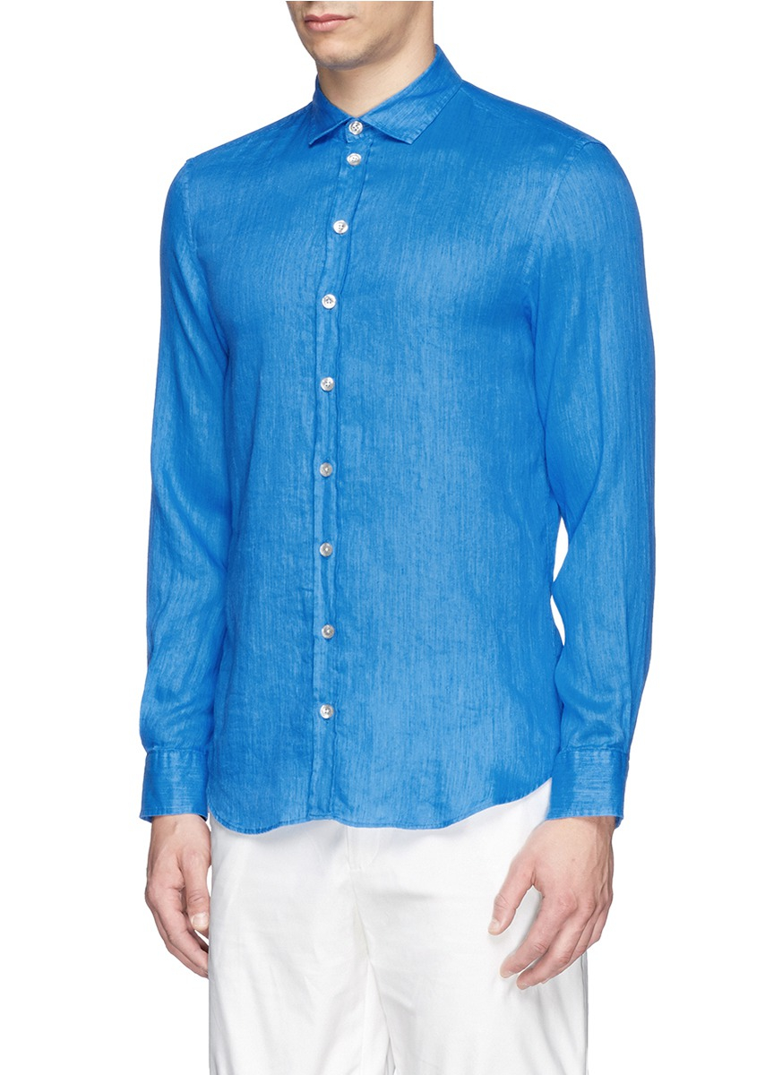 Armani soft french collar cotton linen shirt in blue for for Soft cotton dress shirts