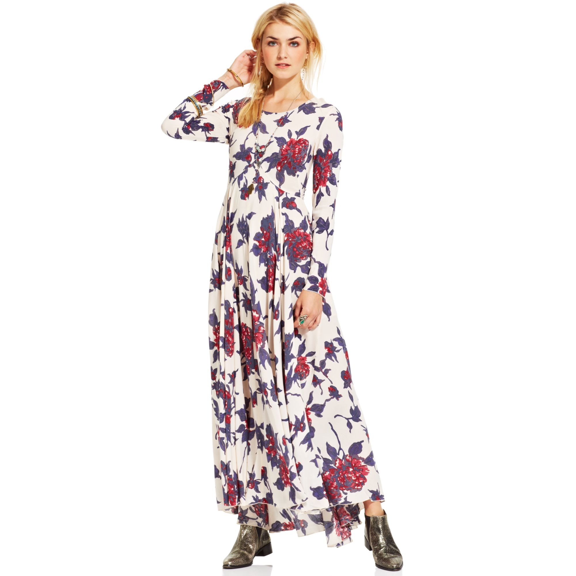 Free People First Kiss Floralprint Maxi Dress In Natural
