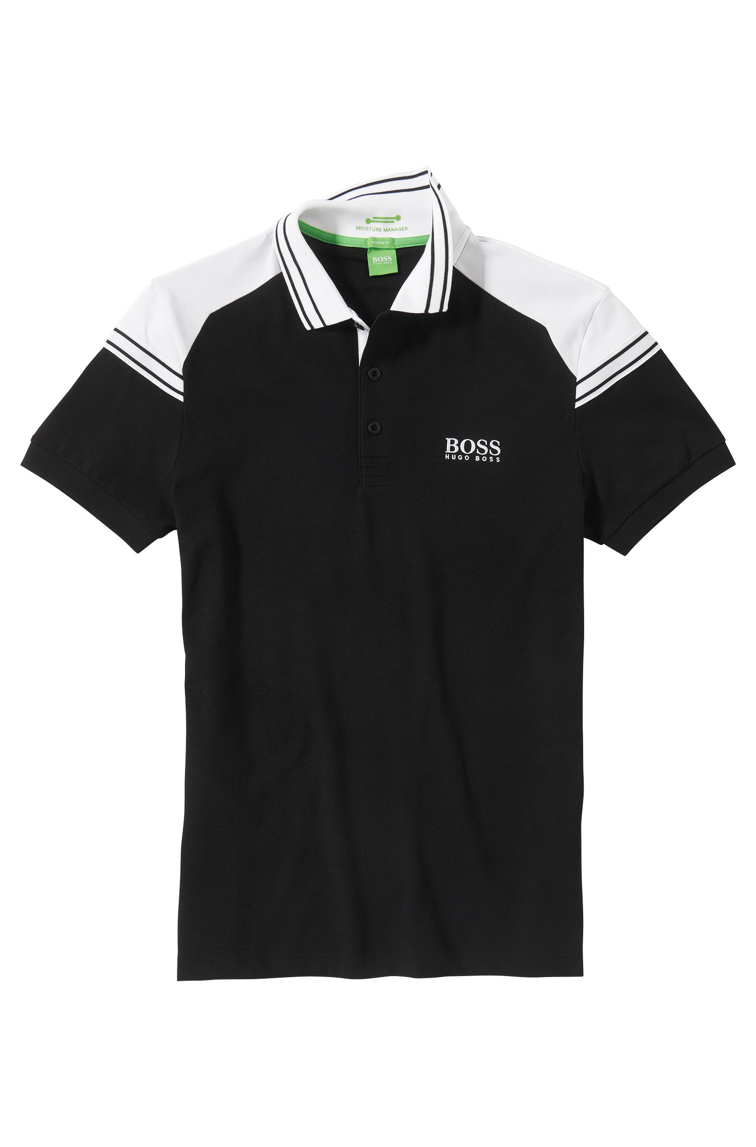 Boss green regular fit golf polo shirt 39 paddy pro 1 39 with for Black golf polo shirt