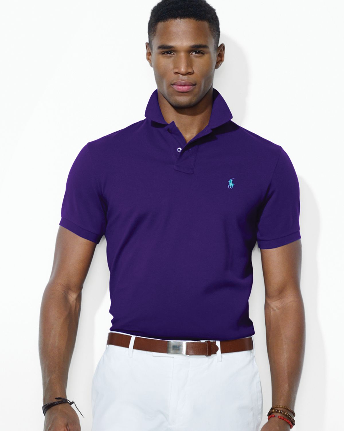 1b6726ecd Ralph lauren Polo Customfit Stretchmesh Polo Shirt in Purple for Men