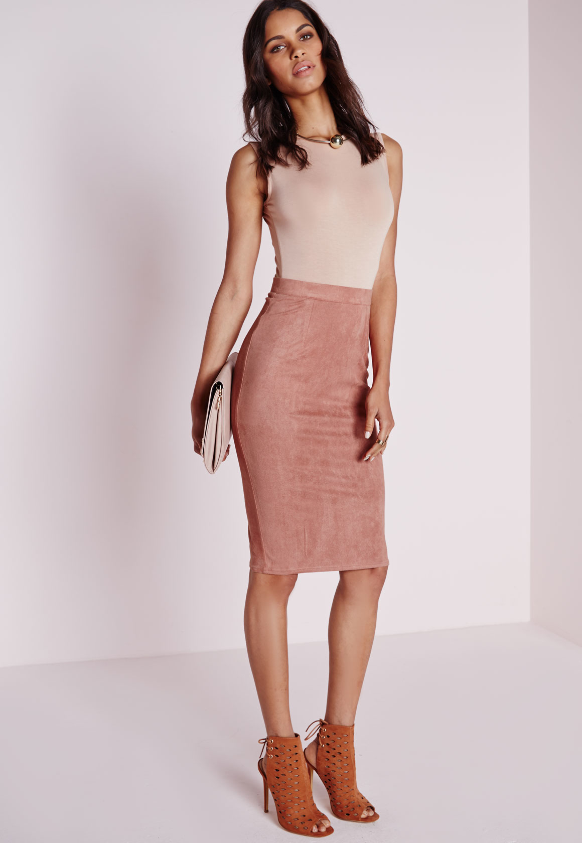 Missguided Tall Faux Suede Midi Skirt Mauve in Purple | Lyst