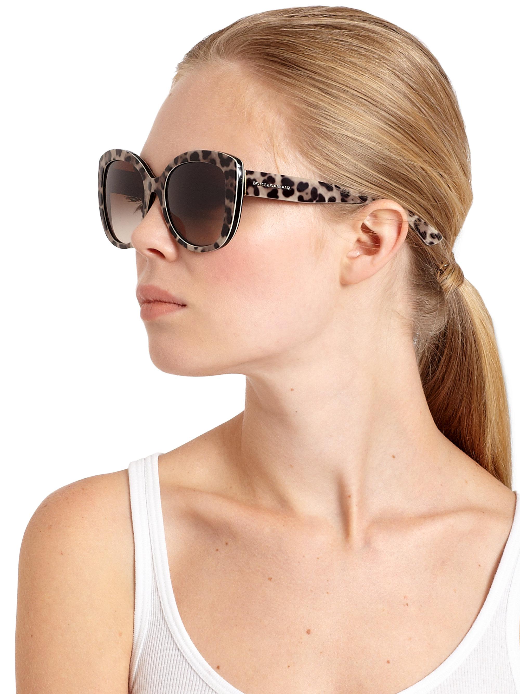 ce3757c94a Dolce   Gabbana Leopard-print 53mm Cat s-eye Sunglasses - Lyst