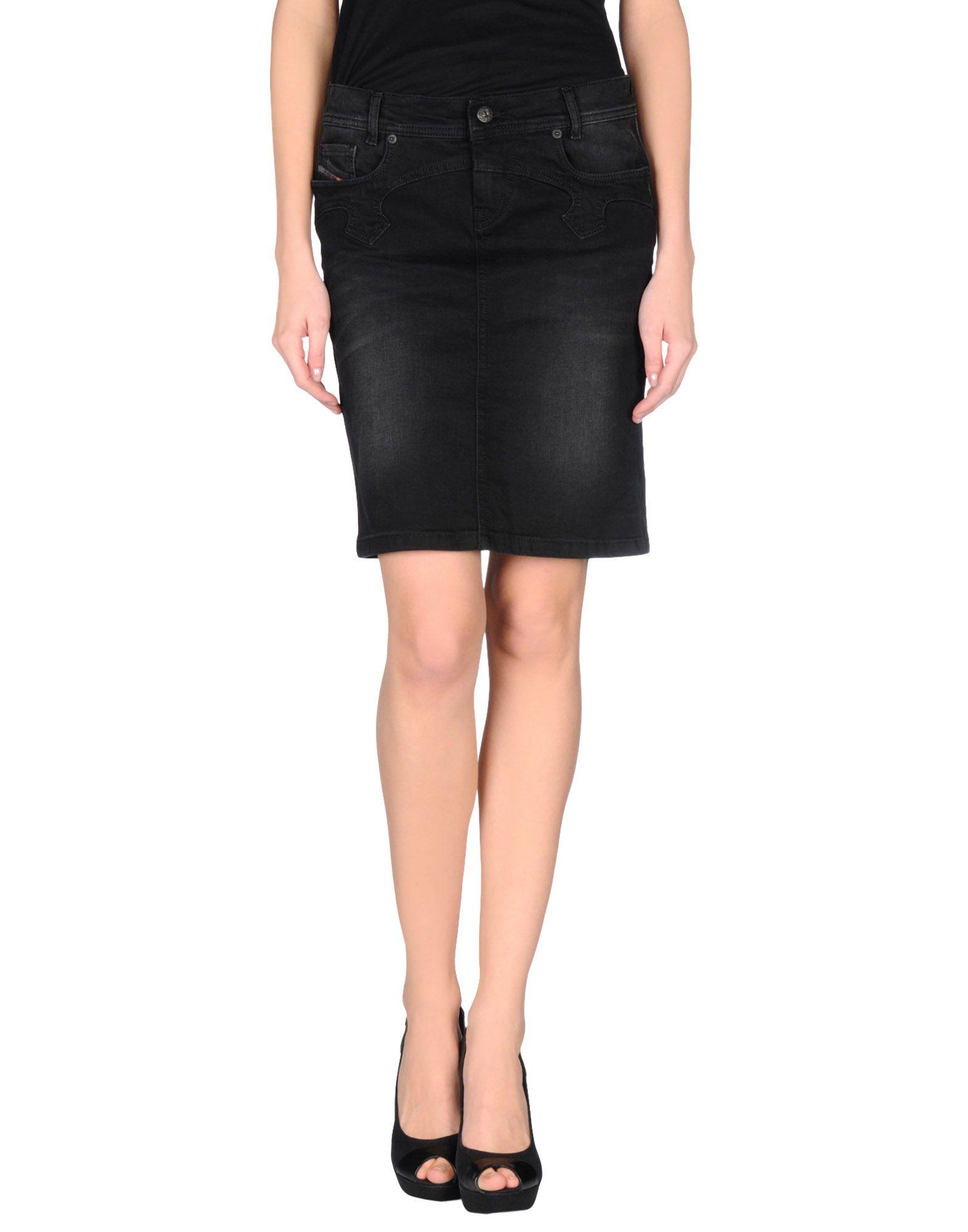 diesel denim skirt in black lyst