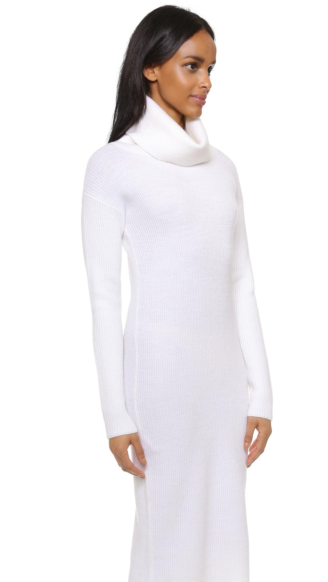 Dkny Long Sleeve Turtleneck Dress in White | Lyst