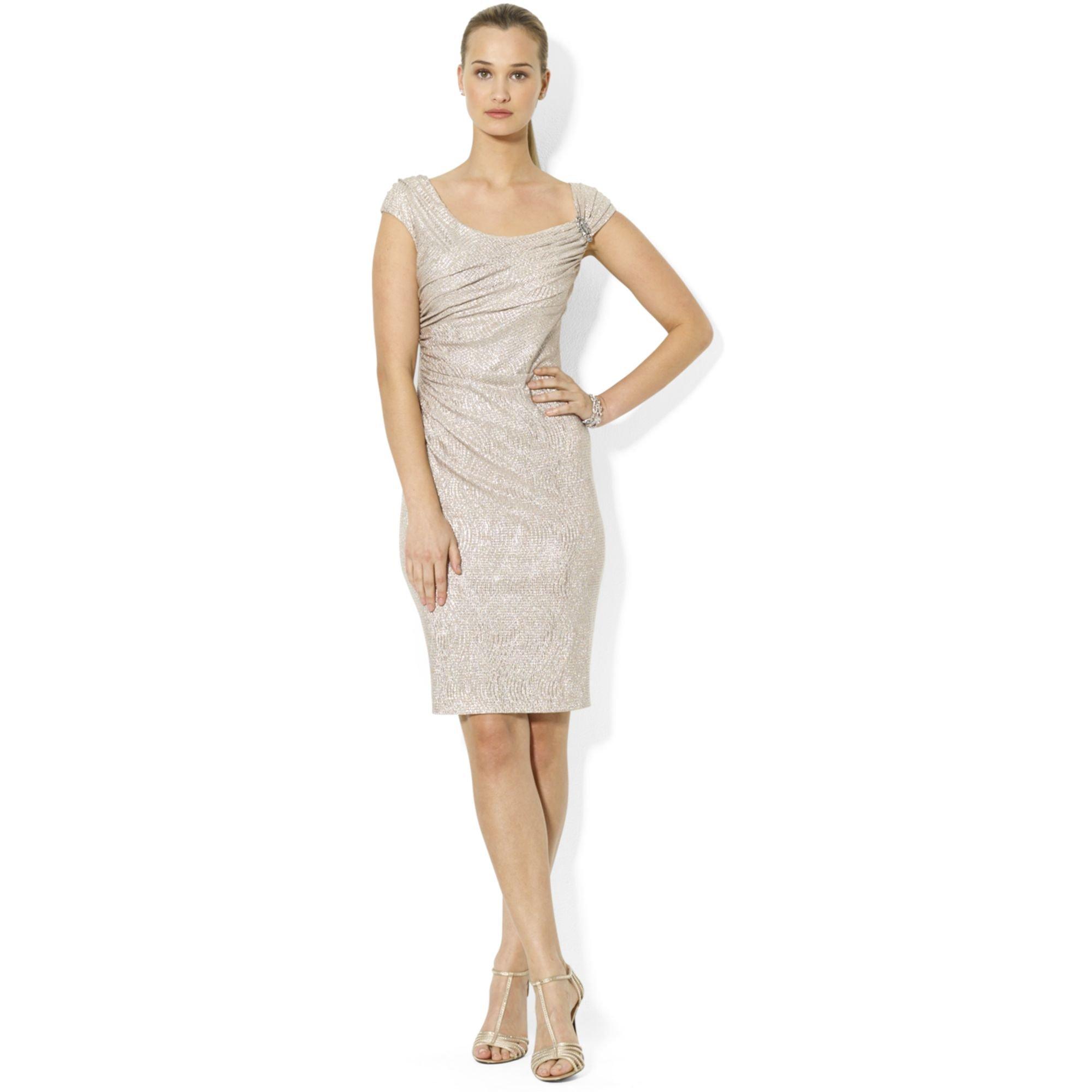 Lyst - Lauren By Ralph Lauren Capsleeve Metallic Cocktail Dress in White