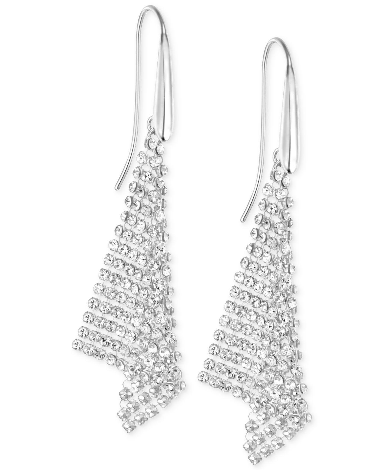 Lyst Swarovski Silver Tone Crystal Mesh Drop Earrings In Metallic